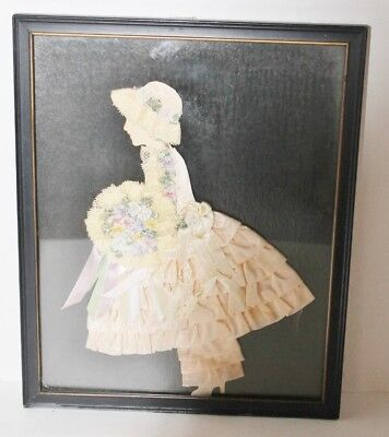 """VTG Antique Silk Ribbon Lace Victorian Lady Framed Picture Paper Doll Art-8""""x10"""""""