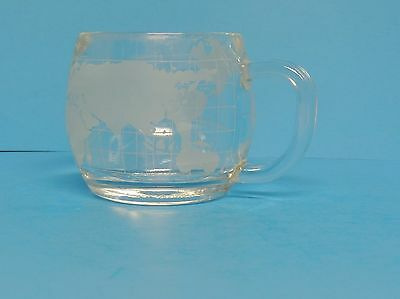 Vintage 1970s NESTLE Nescafe Glass Frosted World Globe Map Coffee Cup Mug