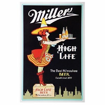 Miller High Life Beer Vtg Metal Tin Ad Sign Girl Bottle Bar Pub Man Cave Room