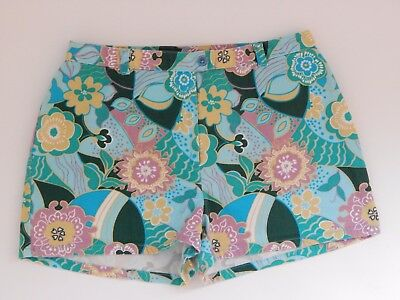 "Women's Shorts 36"" Hip Japanese Floral Print Multi Color Pink Blue Green Yellow"