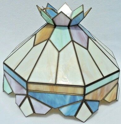 Vintage Pastel Stained Glass Leaded Chandelier Ceiling Lamp Light Fixture