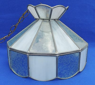 Vtg Etched Stained Glass Leaded Tiffany Style Chandelier Light Ceiling Fixture