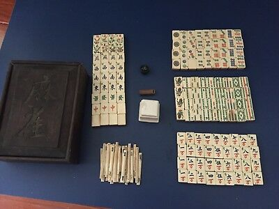 Vintage 1920's Mah Jongg Wood Game Bone & Bamboo Mah Jong Antique Chinese