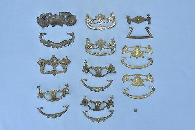 Antique MIXED LOT of 10 CAST BRASS DRAWER HANDLE PULLS HARDWARE STEAMPUNK #04752
