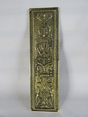 Brass Finger Push Plate Door Handle, Ornate Victorian Styling