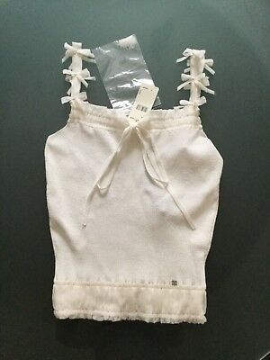 $1,355 New With Tags Chanel 06P White Spaghetti Strap Bows CC Logo Party Top 42