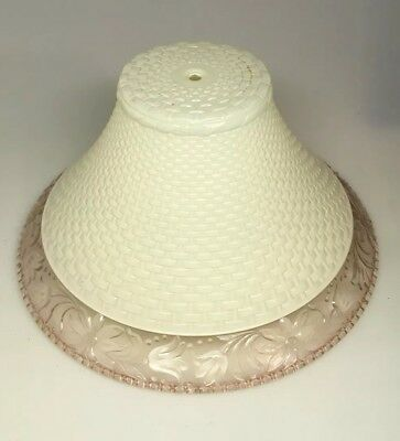 """Vintage 10"""" Ceiling Light Shade Frosted Milk Glass with Pink Glass Rim Fixture"""