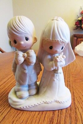 """Precious Moments Wedding Couple,  """"the Lord Bless You And Keep You"""""""