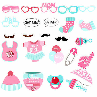 25 Pcs/Set Baby Shower Photo Booth Props Little Lady Girl New Born Party in Pink