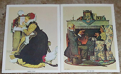 (2) Norman Rockwell Lithograph Prints - Summer Stock & Tea For Two, 1972, NICE!