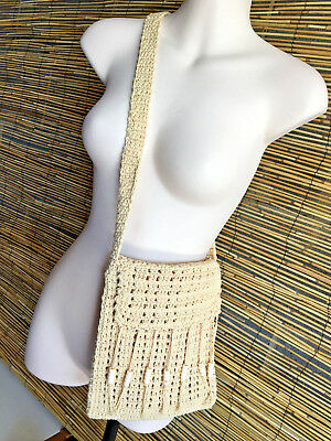 Lot of 3 cotton crochet bags.Fully lined.Good quality.3 colors.Zip close.Hippie.