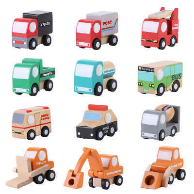 12x Wooden Baby Kid Cartoon Toy Car Early Learning Educational Traffic Toy Gift