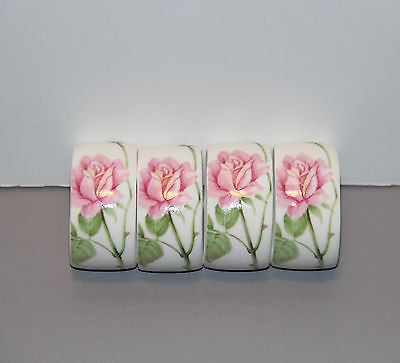Four June Rose Napkin Rings A7719 - Mikasa   Made in Japan