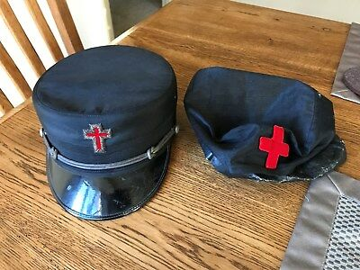 Black Red Cross  Henderson Ames Military type Hat size 7-3/8 Vintage Antique