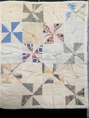 Antique 1880's Calico Fabric and Feedsack Pinwheels Doll Quilt