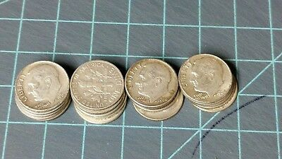 $4 Face Value 1964 Lot Circulated Roosevelt Dimes With Vintage Wrapper