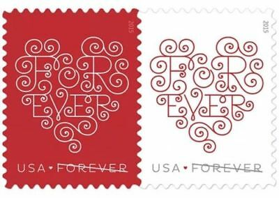 Heart Design Forever Stamps Sheet of 20 x 100: Total of 2,000 Stamps