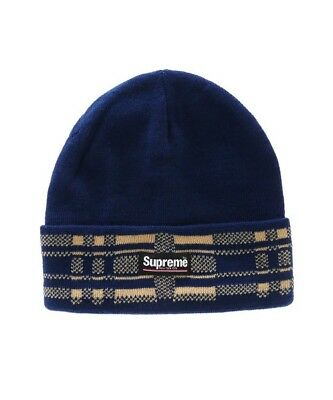 a009bfb45ec NEW SUPREME NEW YORK CITY KNIT PLAID CUFF NAVY BLUE BEANIE CAP Box Logo FW16