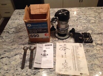 Professional Rockwell Router 6902 Motor 6301 Base Original Box, Wrenches, Bits