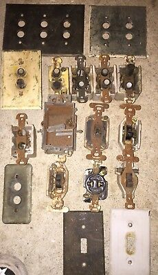 Lot of Antique Push Button Switches and Cover Plates