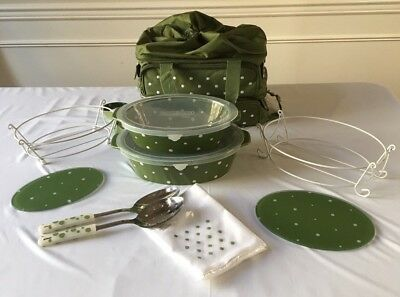 Temp-tations Presentable Ovenware green Polka Dot 12pcs with Thermal Carry bag