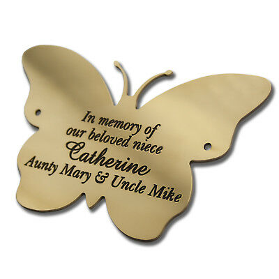 "4"" Butterfly shape Solid Brass Plaque/Name plate. Deep Engraving in Solid Brass"