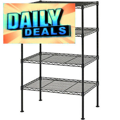 "Rack Shelving Four Level Wire Black 20""W x 12""D x 32""H Home Garage Storage New"