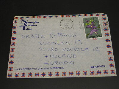 Barbados 1977 airmail cover to Finland *5664
