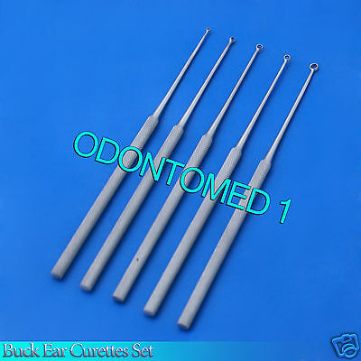 5 Buck Ear Curettes Surgical Veterinary Instruments Straight Sharp