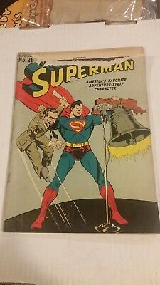 Superman #26 (Jan-Feb 1944, DC) Classic WW2 Cover Torn at Very Top