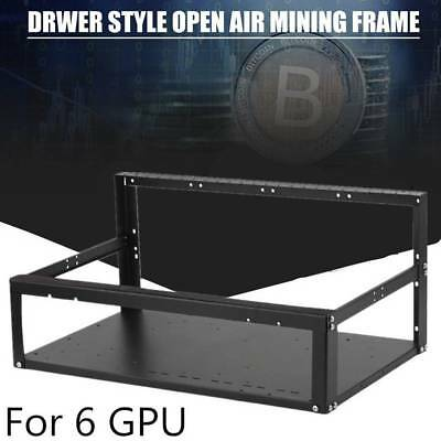 6GPU Mining Rig Open Air Aluminum Miner Frame Stackable Case For ETH ZEC Bitcoin