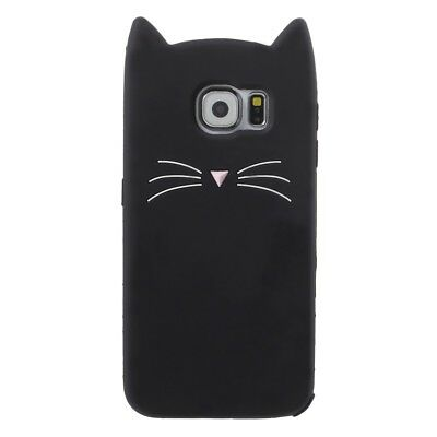3D Moustache Cat Silicone Back Case Cover for Samsung Galaxy S6 SM-G920