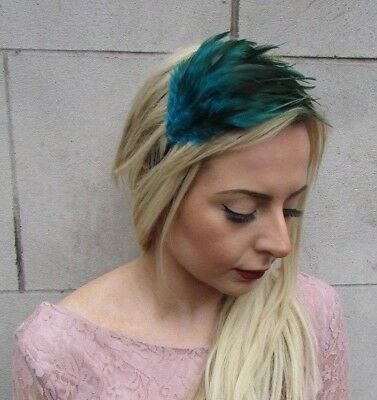 Teal Blue Green Feather Fascinator Headband Races Headpiece Hair Band 1920s 5083