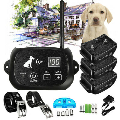 Wireless Electric Pet Fence Waterproof Rechargeable Containment 1-4 Dog System