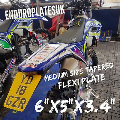 FLEXIBLE Medium TAPERED SHOW NUMBER PLATE KTM EXC ENDURO MOTORCYCLE FLEXI REG