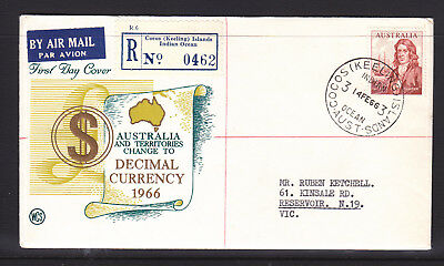 FDC: 1966 DECIMAL CURRENCY 50c DAMPIER ON WCS COVER, CANCELLED  COCOS