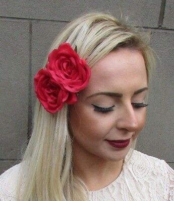 Double Red Rose Flower Hair Clip Fascinator Wedding Rockabilly 1950s 1940s 5091