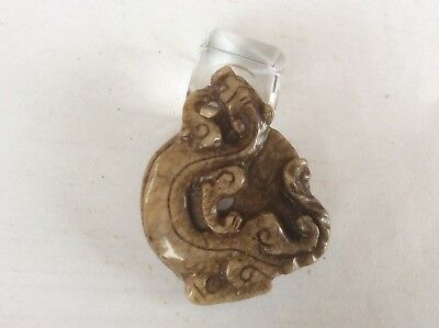 Vintage Chinese carved Jade/Stone 'Writhing Dragon' Pendant.