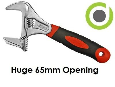 """Extra Wide Deep Adjustable Spanner Wrench Cr-V 8"""" 10"""" Shifter 65mm Opening Jaw"""