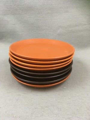 Honiton Pottery Side Plates X 8 Retro Orange / Rust/ Brown