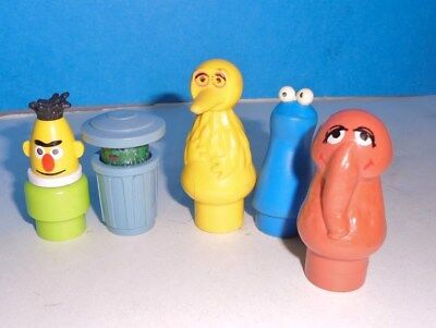 Vintage Lot of 5 FISHER PRICE SESAME STREET Little People ..from 1970s + Snuffy