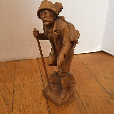 Original Wood Carving of Huntsman with gun and bundled goat on back (Austrian)