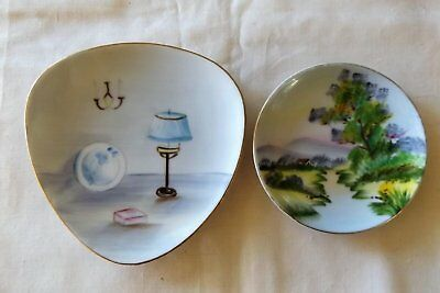 2 X Hand Painted Ceramic Pin / Trinket Dishes
