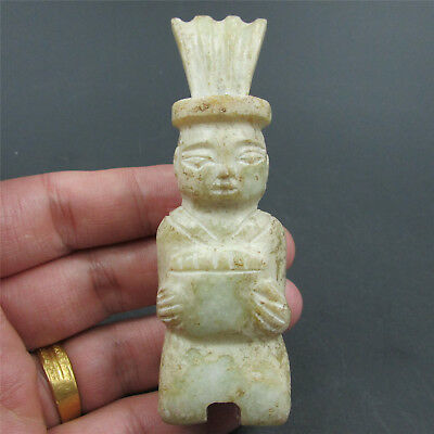 Chinese natural hard jade jadeite hand-carved family art man kneel play music 04
