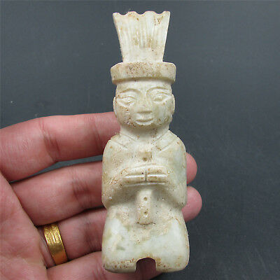 Chinese natural hard jade jadeite hand-carved family art man kneel play music 02