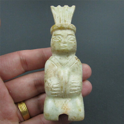 Chinese natural hard jade jadeite hand-carved family art man kneel play music 06