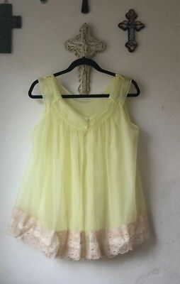 Vtg Chic Lingerie L Yellow Chiffon Babydoll Peignoir Nightgown Robe Sheer Lace