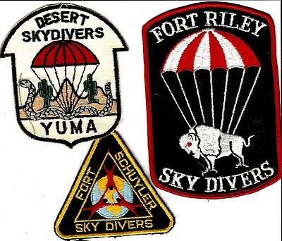 Three(3) militray Sky divers patches, rare. Look like 1970s era. Ft RIley is 6""