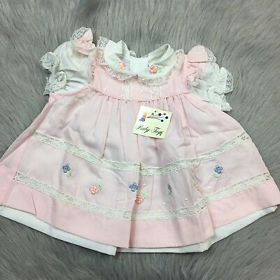 Vintage Baby Girls Pink White 2 Piece Ruffle Lace Trim Floral Dress