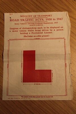 Road Traffic Acts L Plate Dimensions Sheet 1947 Ministry Of Transport